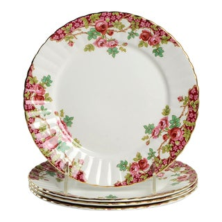 Royal Stafford Olde English Garden Red Salad Plate Set/4 For Sale