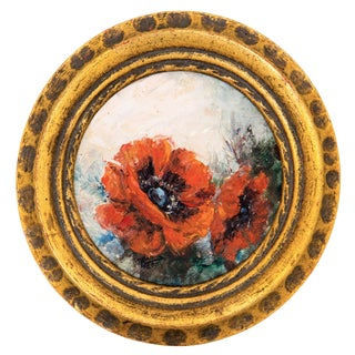 Floral Oil Painting in Giltwood Frame For Sale