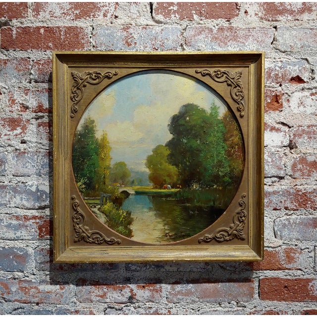 George Thompson Pritchard -Bridge Over a Pond -Impressionist Oil Panting C1920s For Sale - Image 10 of 10