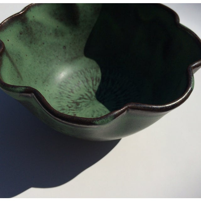 Studio Rosette Flower Green Ceramic Bowl - Image 4 of 6
