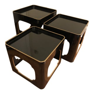 Black Lacquer Stackable Nesting Tables - Set of 3 For Sale