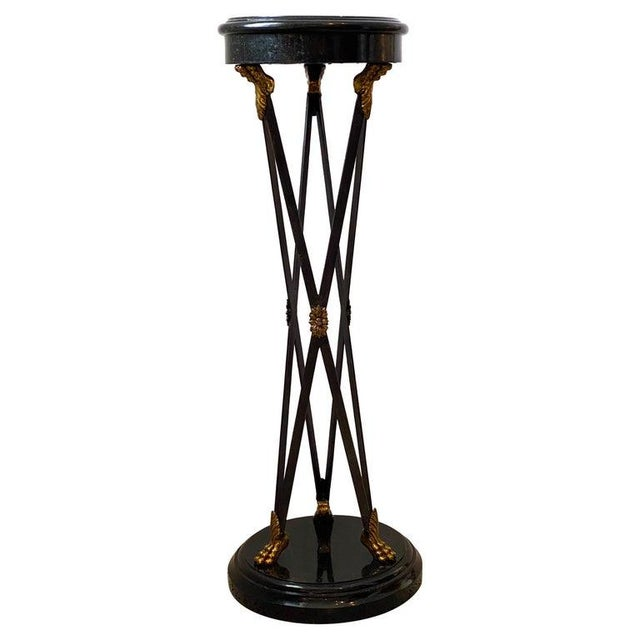 Vintage Maitland Smith Pedestal Neoclassical Revival in Tessellated Marble, Patinated Steel and Brass For Sale - Image 13 of 13