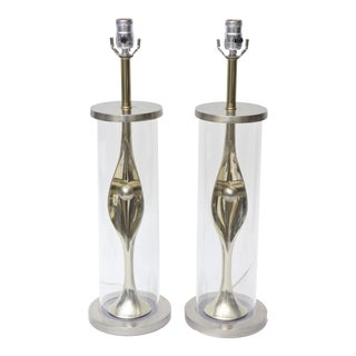 Pair of Sensual Mixed Metal and Lucite Abstract Table Lamps For Sale