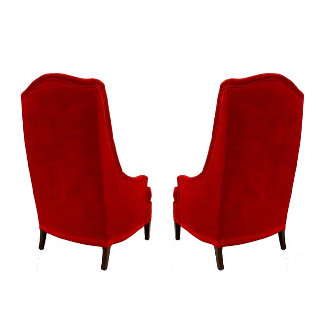 Tufted Red Velvet Hollywood Regency Chairs - Pair - Image 4 of 4