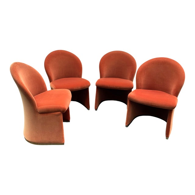 1980's Velvet Chairs With Brass Base - Set of 4 For Sale