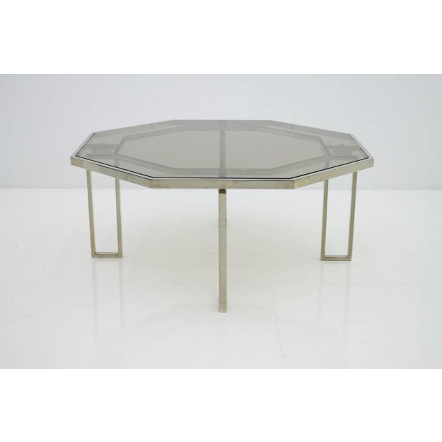 Brown Octagonal Coffee Table With Metal Base and Glass Top, 1960s For Sale - Image 8 of 8