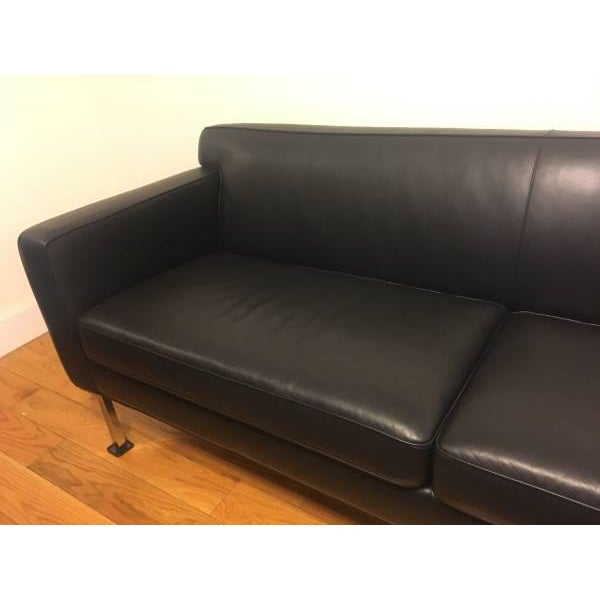 Design Within Reach Black Leather Couch - Image 4 of 4
