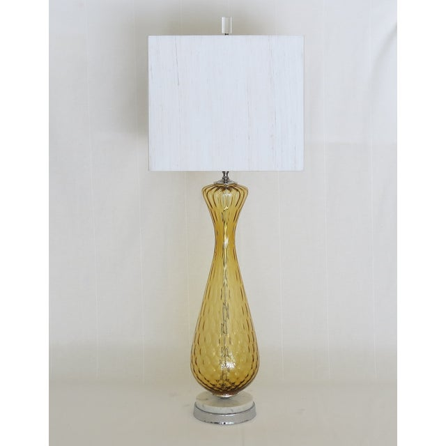 Tall Vintage Murano Glass Lamp on Marble Base - Image 2 of 5