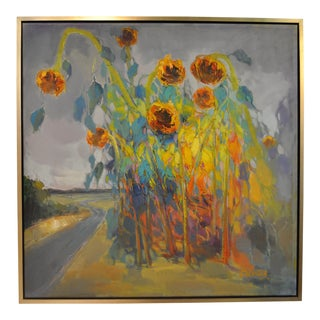 Framed and Signed Abstract Sunflower Artwork, Oil on Canvas, European Artist.