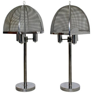 Vintage Mid-Century Modern Pair of Laurel Style Wire Mesh Table Lamps For Sale