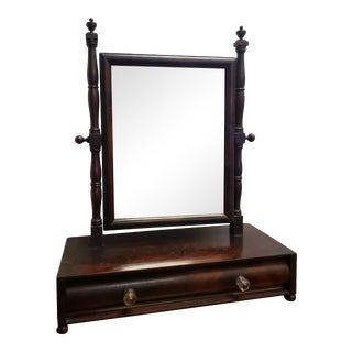 1900 Antique Burl Wood Shaving or Vanity Mirror With Drawers For Sale