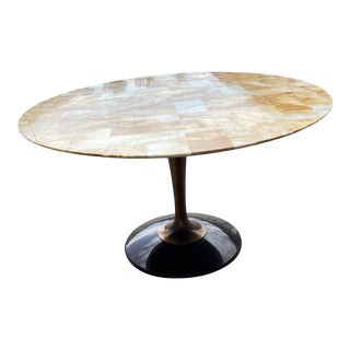 Chromecraft Acrylic Lucite Patchwork Oval Dining Table For Sale