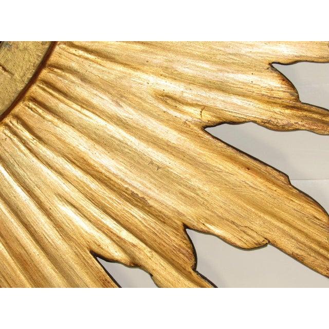 Spanish Gilt Wood Convex Sunburst Mirror For Sale - Image 4 of 9