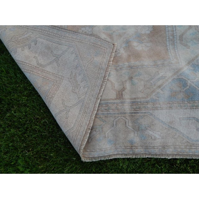 Beige Distressed Oushak Hand Knotted Rug - 5′2″ × 8′4″ For Sale - Image 8 of 9
