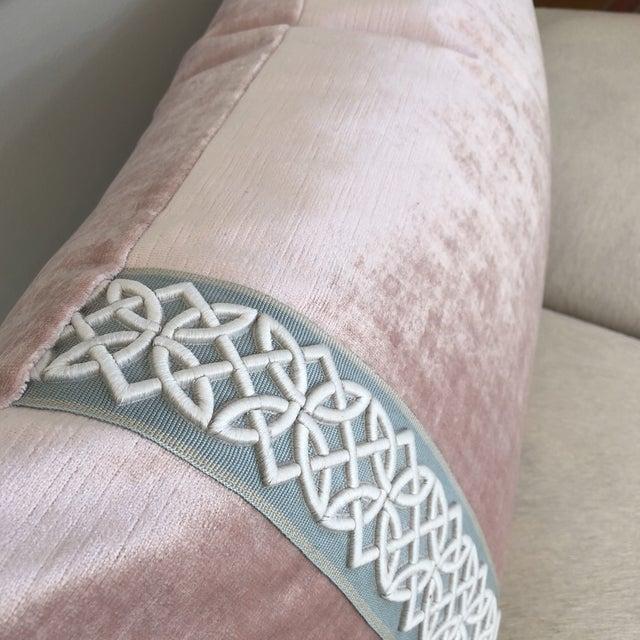 Scalamandre Trim Pink Velvet Pillow - Image 3 of 6