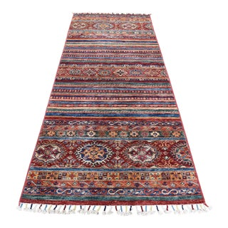 "Kazak Khorjin Design Runner Hand-Knotted Wool Rug - 3'0"" x 8'0"" For Sale"