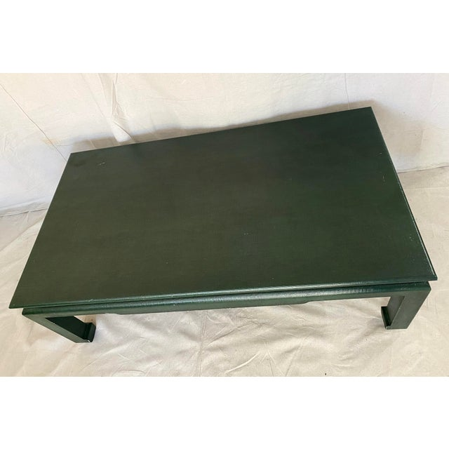 Late 20th Century Minic Custom Woodwork Linen Grasscloth Wrapped Ming Coffee Table For Sale - Image 5 of 13