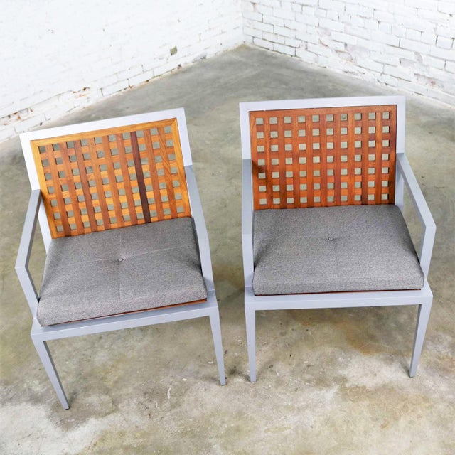 Pair of Aluminum and Teak Archetype Patio Chairs by Michael Vanderbyl for McGuire For Sale - Image 10 of 13