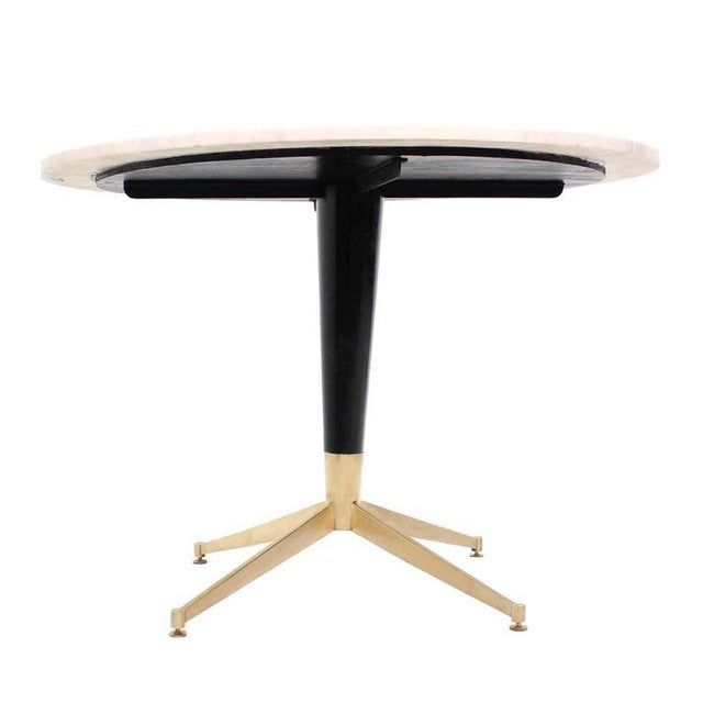 WorldClass Italian MidCentury Modern Brass Base Cafe Table DECASO - Round marble cafe table