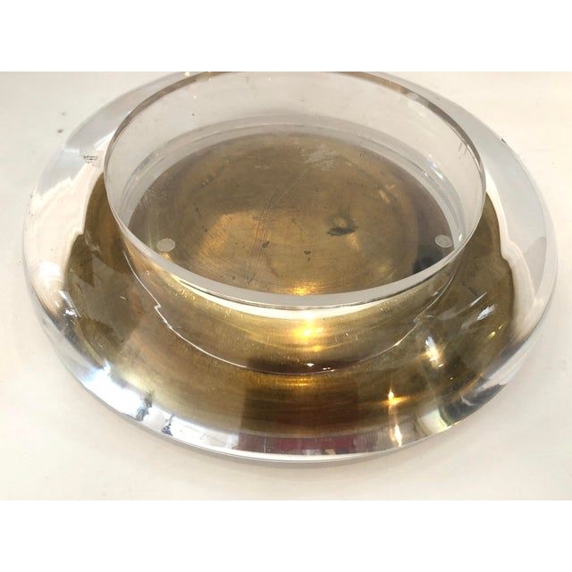 Mid-Century Set of Lucite & Brass Catchall & Lighter For Sale - Image 9 of 13