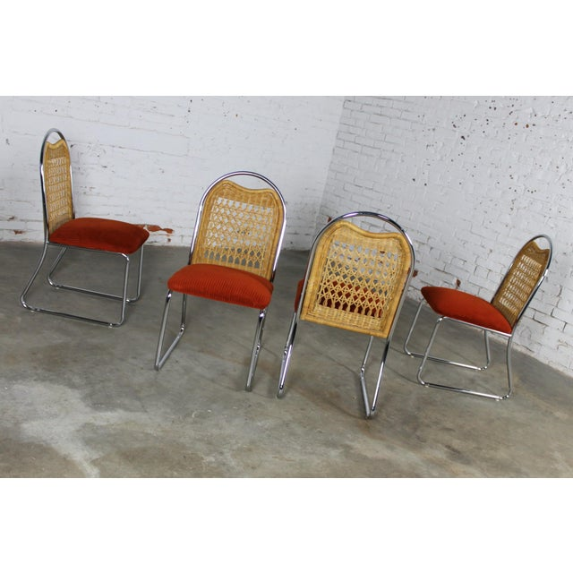 Chrome Daystrom Mid-Century Glass & Chrome Table With Chrome & Wicker Chairs - Set of 5 For Sale - Image 7 of 11