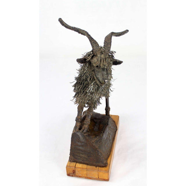 Early 20th Century Tall Mid-Century Modern Metal Sculpture of a Goat For Sale - Image 5 of 10