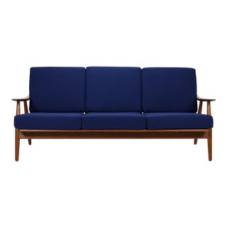1950s Vintage Danish Modern Hans Wegner Three-Seater Teak Sofa For Sale