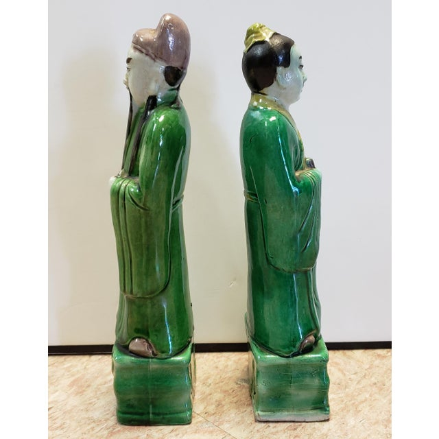 Up for sale is a Pair of Late 19th Century Chinese Famille Verte Porcelain Scholar and Court Lady Figurines! The scholar...