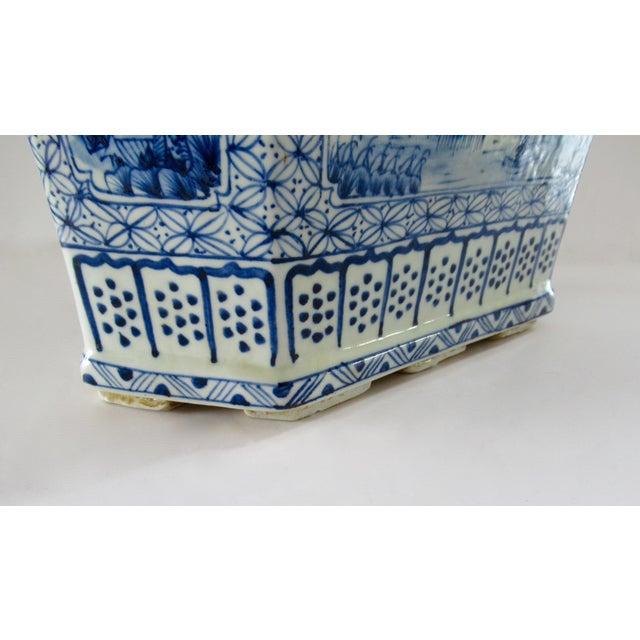 Ceramic Chinoiserie Blue & White Hexagonal Jardiniere For Sale - Image 7 of 13