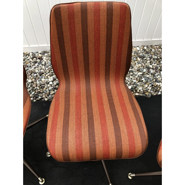 1960s Vintage Mid Century Howell Acme Striped Vinyl Chairs- Set of 4 For Sale - Image 5 of 13