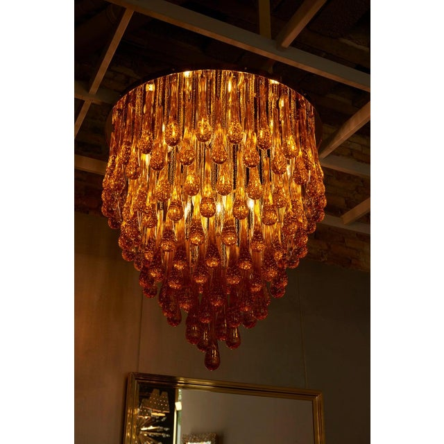 Metal Monumental Brass and Murano Glass Tear Drop Flush Mount Attr. To Barovier & Toso For Sale - Image 7 of 13