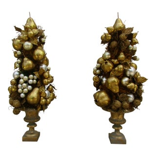 Holiday Season Gilded Topiaries - a Pair For Sale