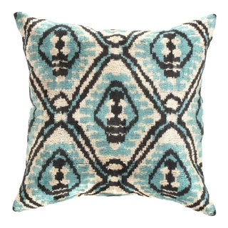 Turkish Hand Woven Silk Velvet Ikat Pillow 20'' #Ti 289 For Sale