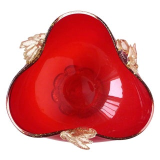Murano Venetian Bright Red Applied Gold Leafs Italian Art Glass Footed Bowl Dish For Sale