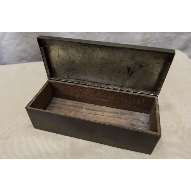 Heintz Art Metal Shop C 1920 Heintz Sterling Silver Tobacco Art Box For Sale - Image 4 of 7