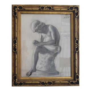 """Original Charcoal Drawing """"Boy With a Thorn"""" by Martin Eskil Winge (1825-1896) in Period Frame For Sale"""