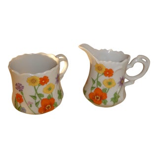 1960's Wildflower Creamer & Sugar - A Pair