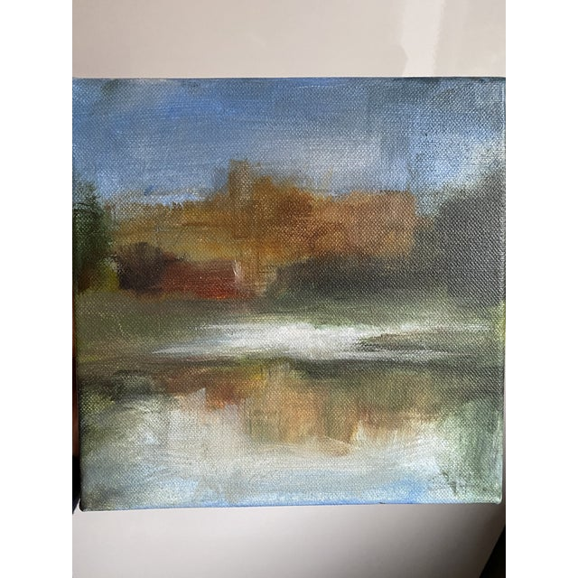 """Original painting by Belgian artist Sylvie Van Hulle. 8x8"""" paint on canvas. Lovely soft-focus landscape of a church or..."""