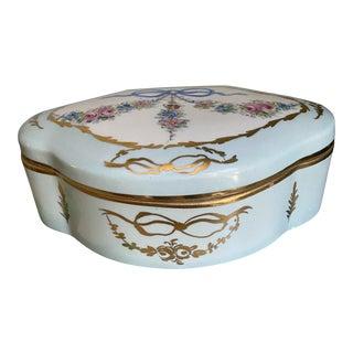 1920s Limoges Handpainted Floral Bow Ribbon Porcelain Trinket Box For Sale