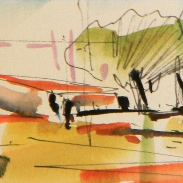 "Contemporary Jose Trujillo Original Expressionist Watercolor Painting - Landscape House Art - 3x6"" For Sale - Image 3 of 5"