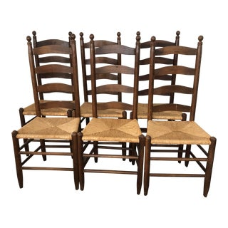 Vintage Ladder Back Rush Seat Dining Chairs - Set of 6 For Sale
