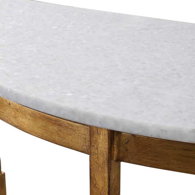Contemporary Marble Demilune Console Table For Sale - Image 3 of 6