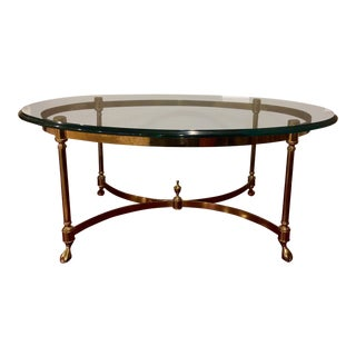 Vintage Brass & Beveled Glass Coffee Table