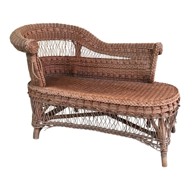 Vintage Boho Wicker Chaise Lounge - Image 1 of 4