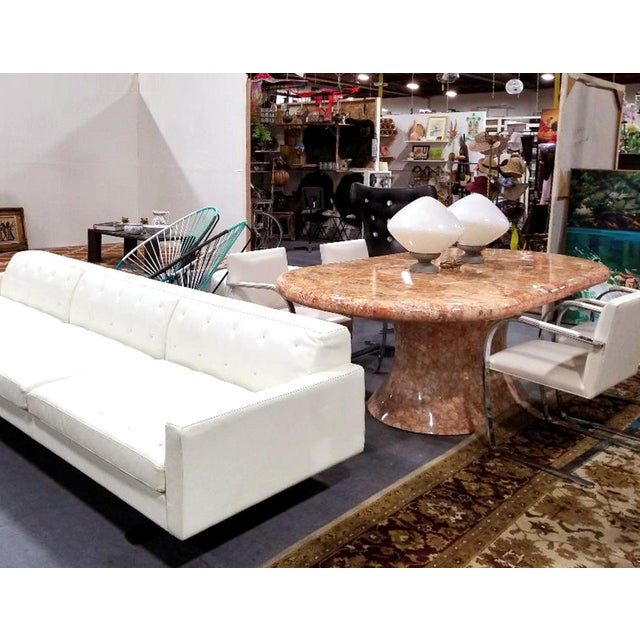 White Over-Scale Poltona Frau 'Italy' Leather and Stainless Steel Sofa For Sale - Image 8 of 9