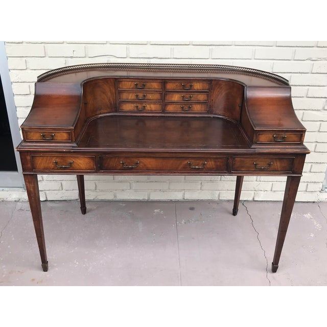 This is a stunning set of vintage Kittinger furniture Desk is made of wood has multiple drawers and gorgeous leather top...