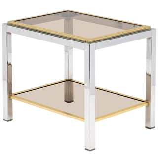 Vintage Mid-Century Chrome and Brass Side Table For Sale