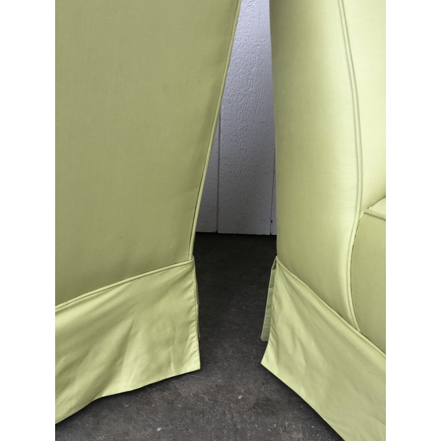 Vintage Custom Made Skirted Lounge Chairs in New Chartreuse Fabric - a Pair For Sale - Image 10 of 11