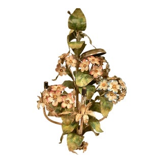 1950s Tole Italy Chandelier Hydrangea Floral Candelabra Swag Ceiling Light Fixture For Sale