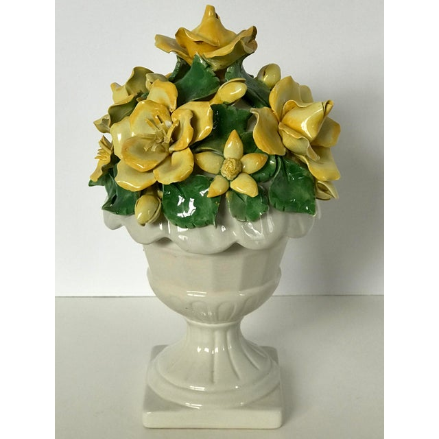 Yellow Vintage Italian Ceramic Lidded Yellow Rose Topiary Jar For Sale - Image 8 of 10
